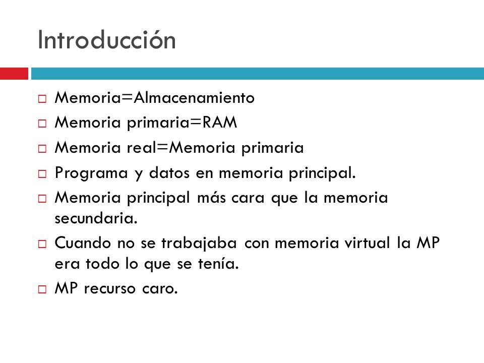 Introducción Memoria=Almacenamiento Memoria primaria=RAM