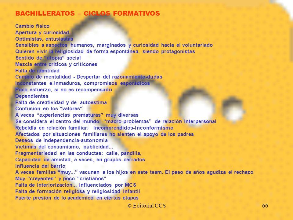 BACHILLERATOS – CICLOS FORMATIVOS