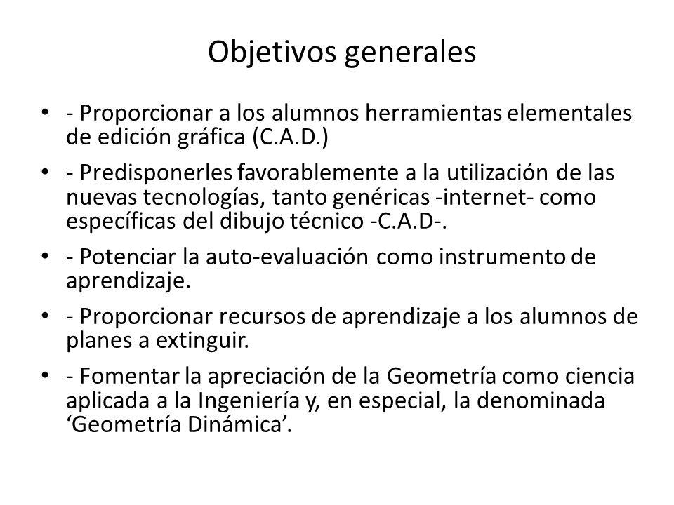 Objetivos generales- Proporcionar a los alumnos herramientas elementales de edición gráfica (C.A.D.)