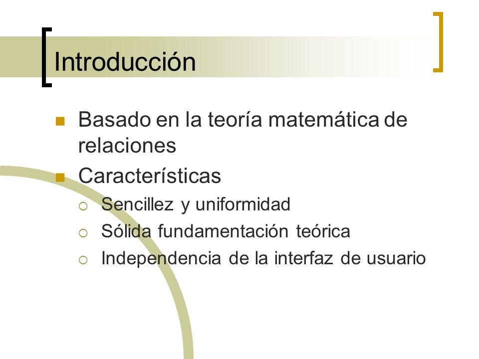 Introducción Basado en la teoría matemática de relaciones