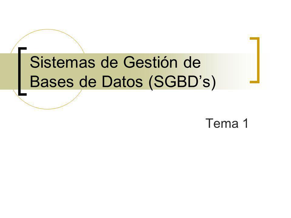 Sistemas de Gestión de Bases de Datos (SGBD's)