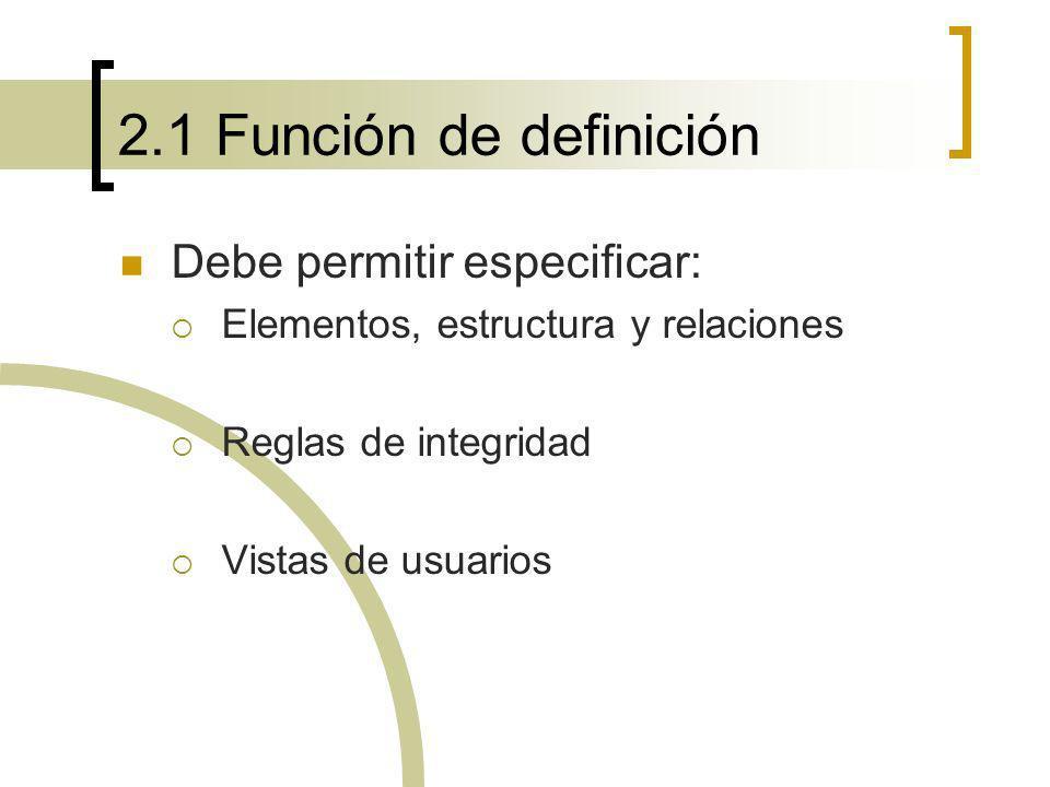 2.1 Función de definición Debe permitir especificar: