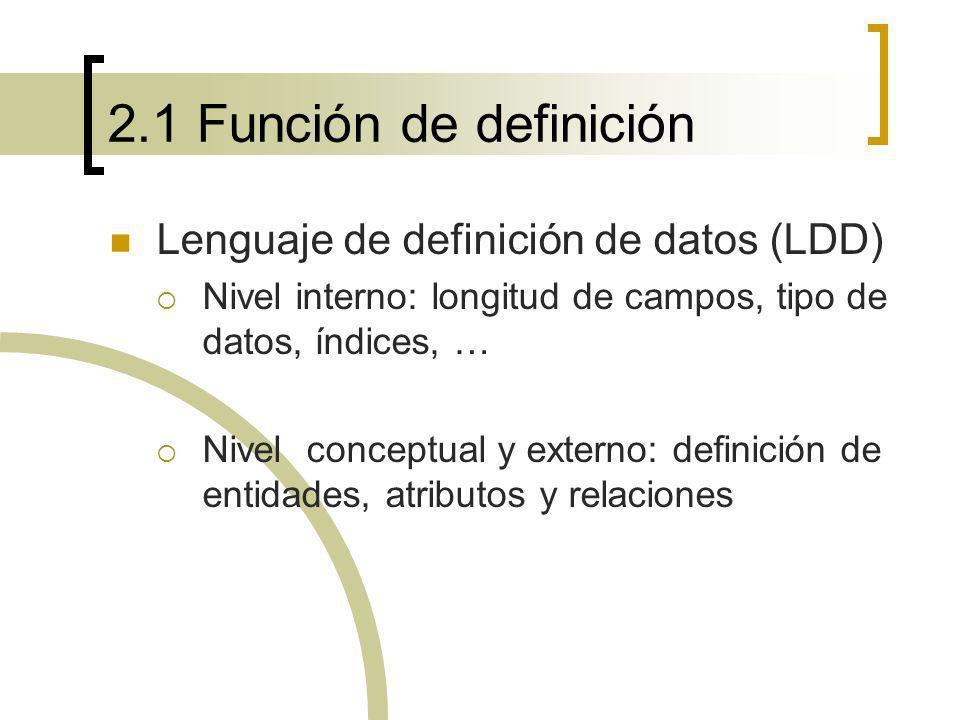 2.1 Función de definición Lenguaje de definición de datos (LDD)