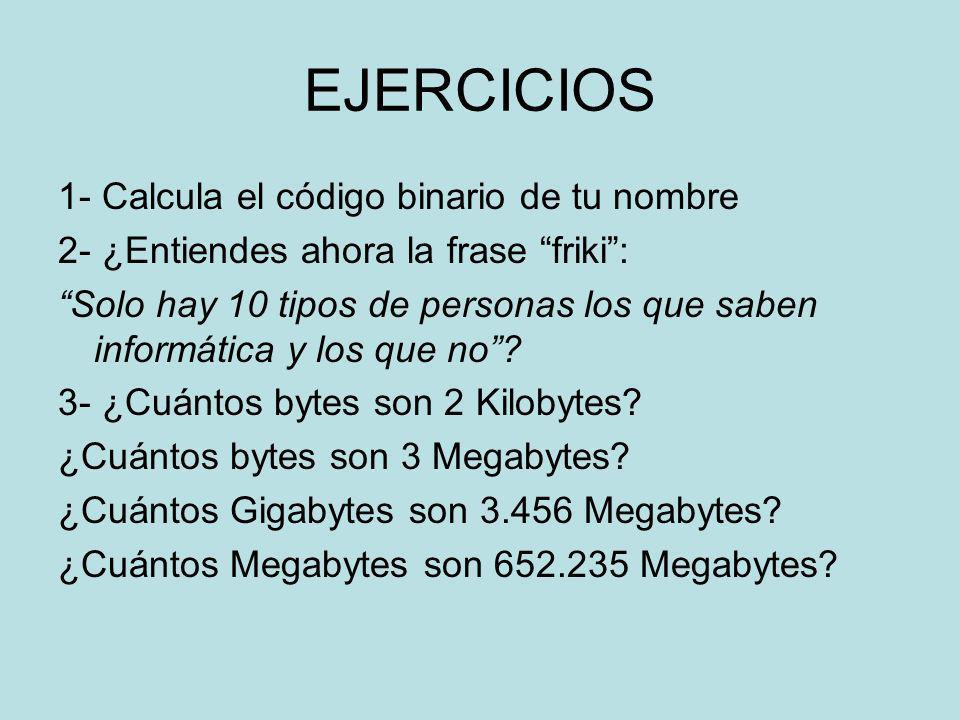 EJERCICIOS 1- Calcula el código binario de tu nombre