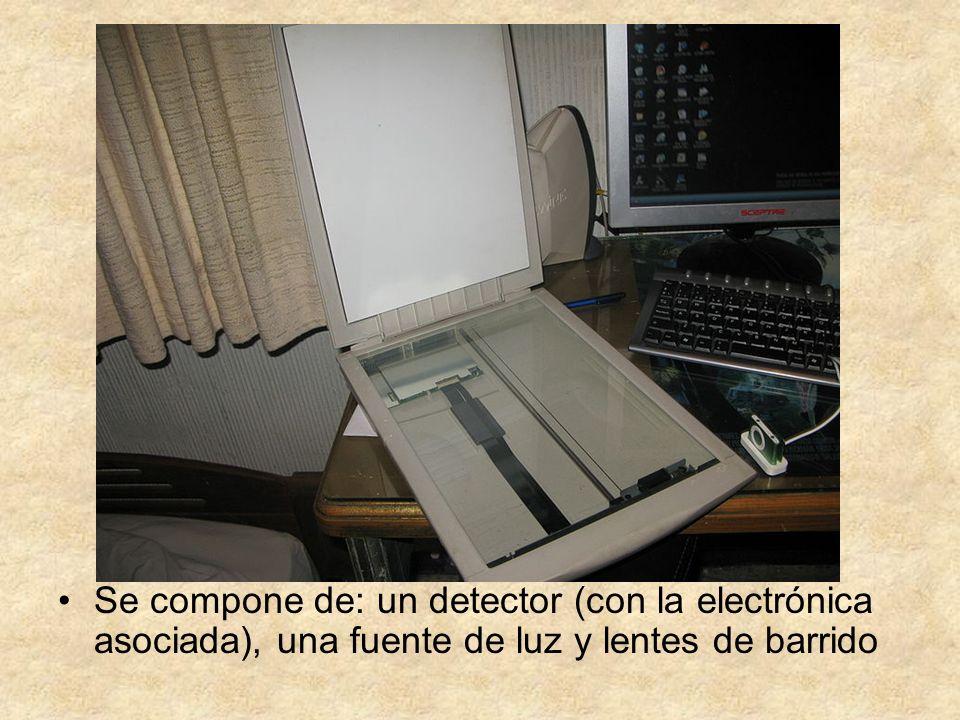 Se compone de: un detector (con la electrónica asociada), una fuente de luz y lentes de barrido