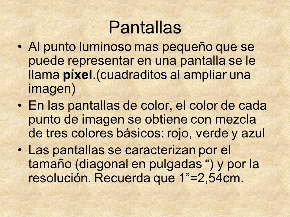 Pantallas Al punto luminoso mas pequeño que se puede representar en una pantalla se le llama píxel.(cuadraditos al ampliar una imagen)