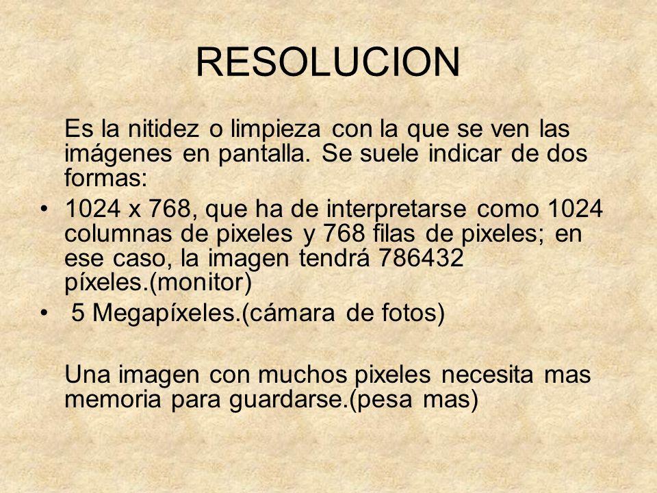RESOLUCION Es la nitidez o limpieza con la que se ven las imágenes en pantalla. Se suele indicar de dos formas: