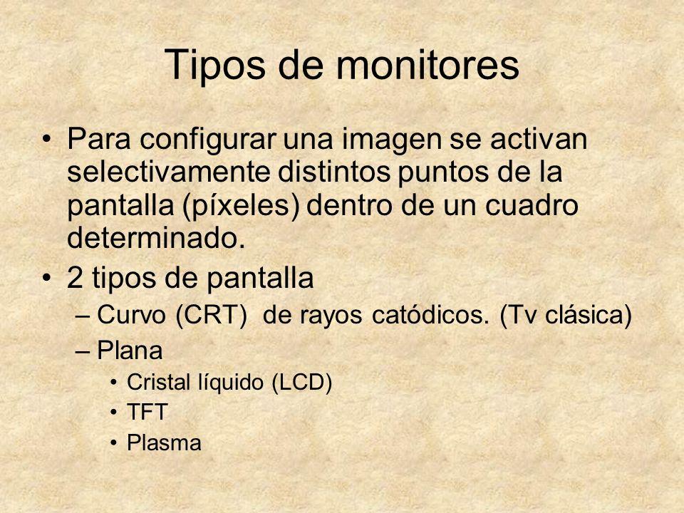 Tipos de monitores Para configurar una imagen se activan selectivamente distintos puntos de la pantalla (píxeles) dentro de un cuadro determinado.