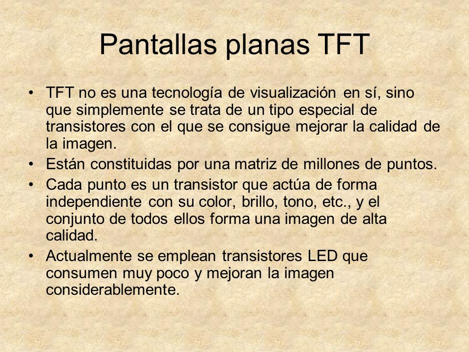 Pantallas planas TFT