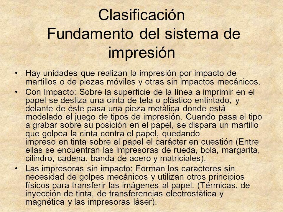 Clasificación Fundamento del sistema de impresión
