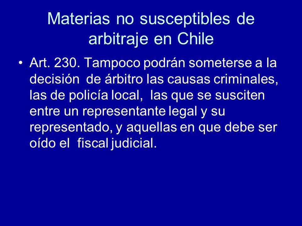 Materias no susceptibles de arbitraje en Chile