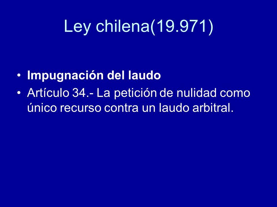 Ley chilena(19.971) Impugnación del laudo