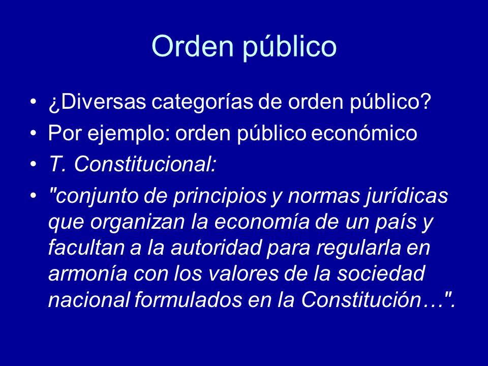 Orden público ¿Diversas categorías de orden público