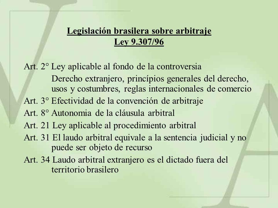 Legislación brasilera sobre arbitraje Ley 9.307/96