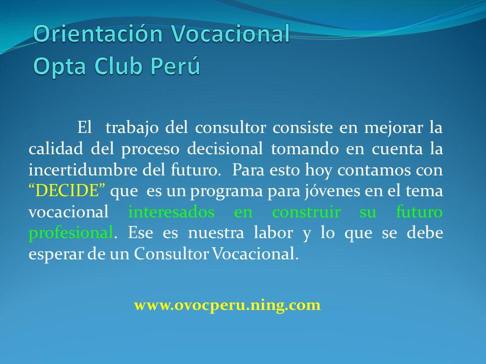 Orientación Vocacional Opta Club Perú