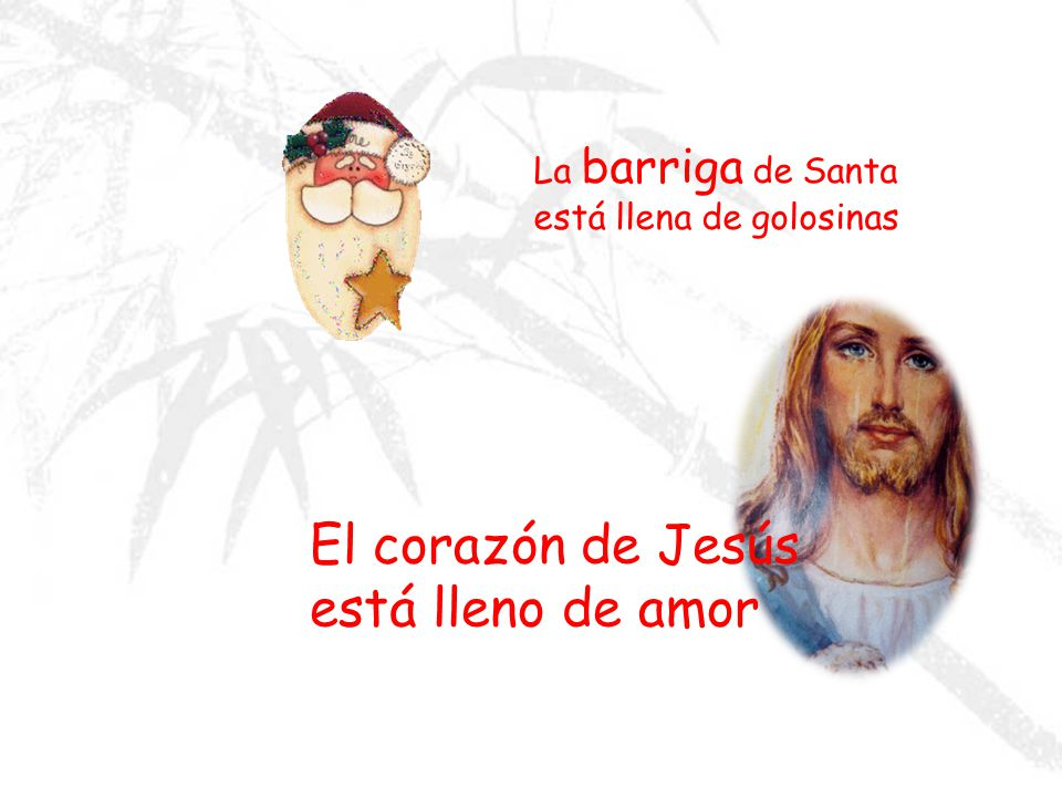 El corazón de Jesús está lleno de amor La barriga de Santa