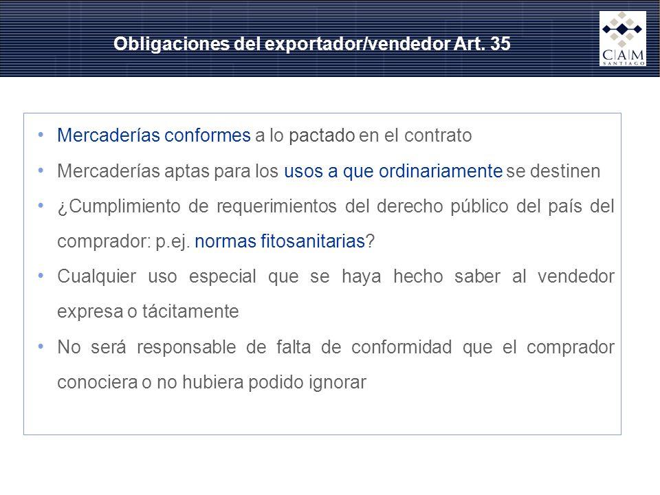 Obligaciones del exportador/vendedor Art. 35