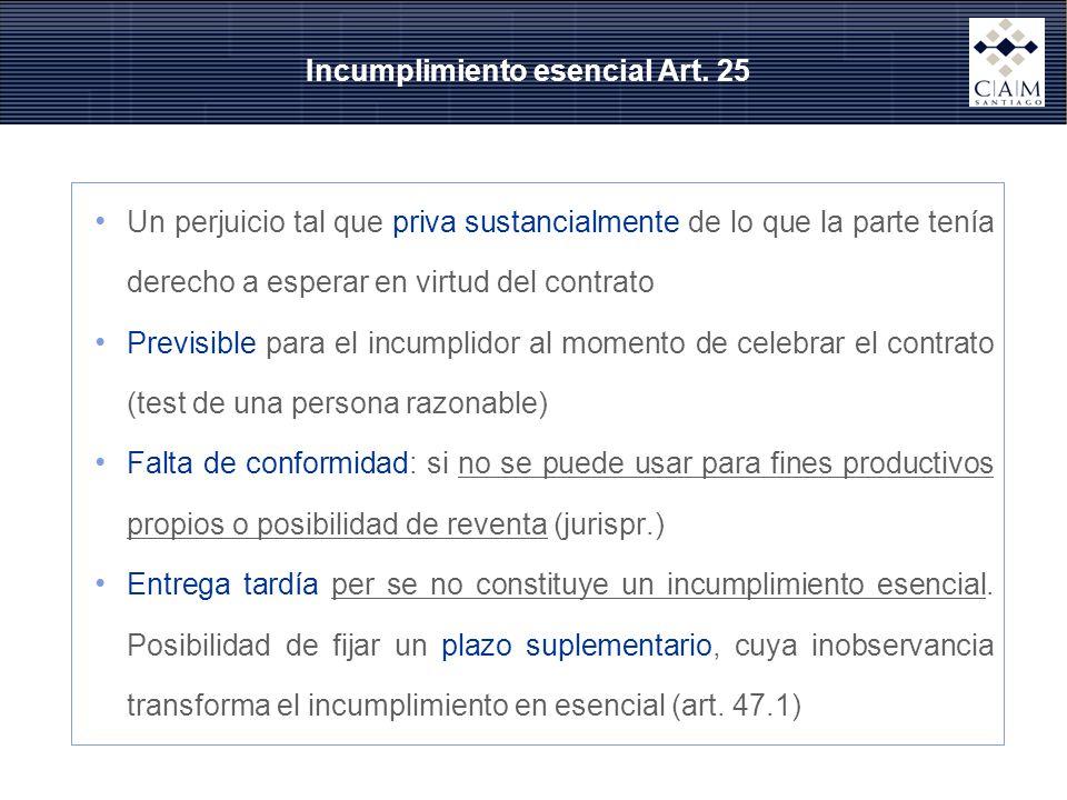 Incumplimiento esencial Art. 25