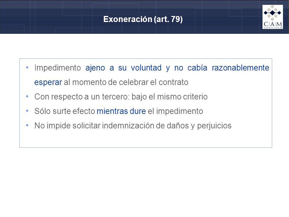 Exoneración (art. 79) Impedimento ajeno a su voluntad y no cabía razonablemente esperar al momento de celebrar el contrato.