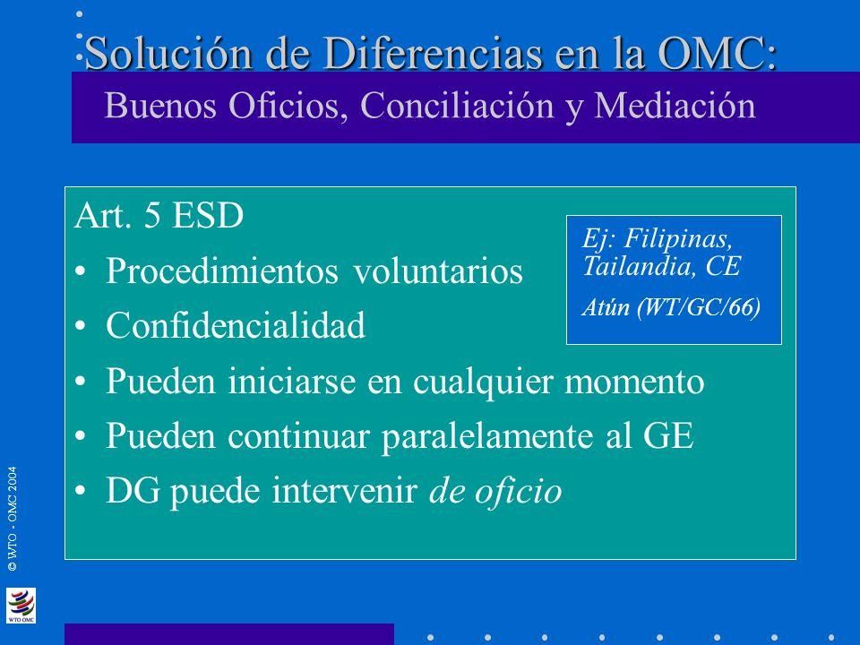 Solución de Diferencias en la OMC: Buenos Oficios, Conciliación y Mediación