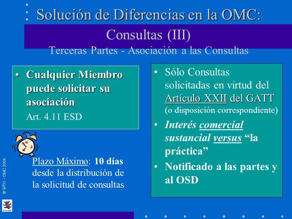 Solución de Diferencias en la OMC: Consultas (III) Terceras Partes - Asociación a las Consultas