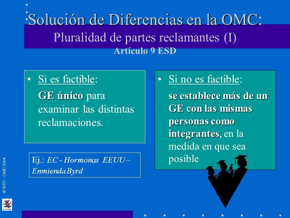 Solución de Diferencias en la OMC: Pluralidad de partes reclamantes (I) Artículo 9 ESD