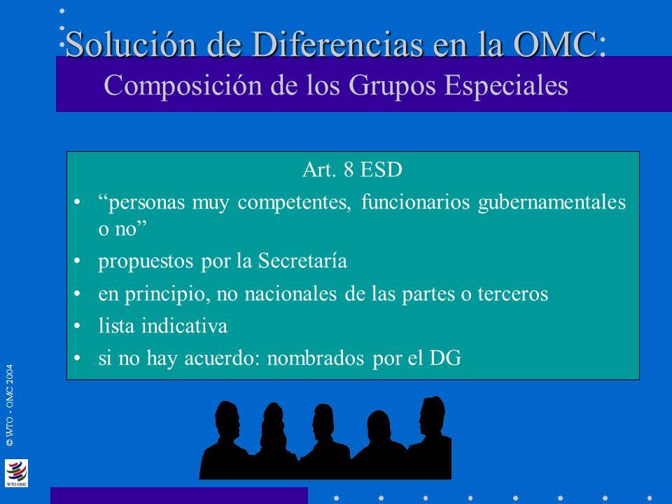 Solución de Diferencias en la OMC: Composición de los Grupos Especiales