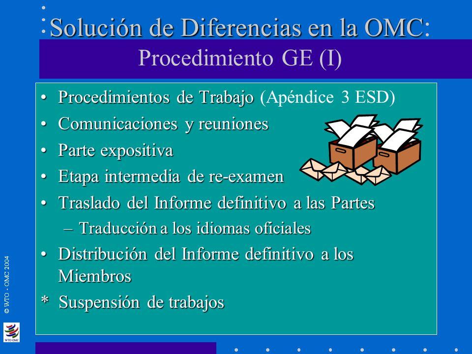 Solución de Diferencias en la OMC: Procedimiento GE (I)