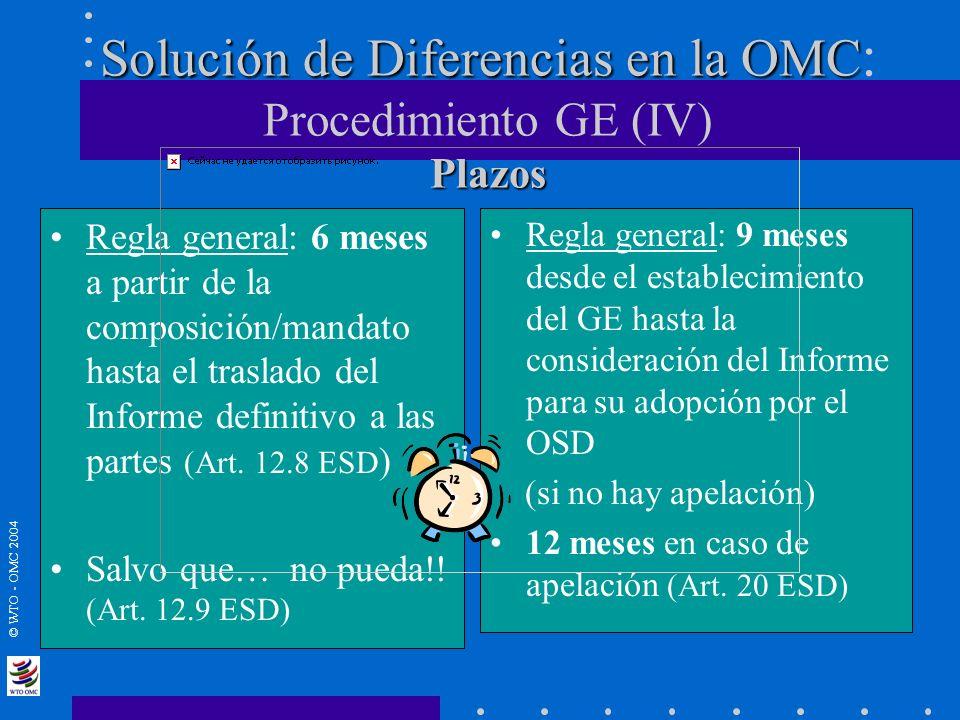 Solución de Diferencias en la OMC: Procedimiento GE (IV) Plazos