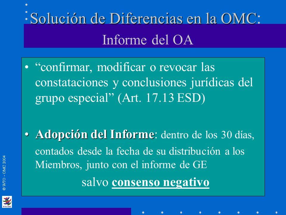 Solución de Diferencias en la OMC: Informe del OA