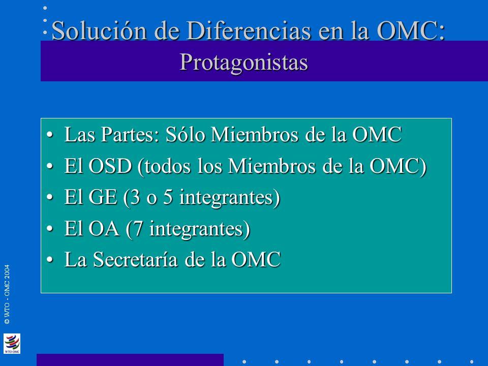 Solución de Diferencias en la OMC: Protagonistas
