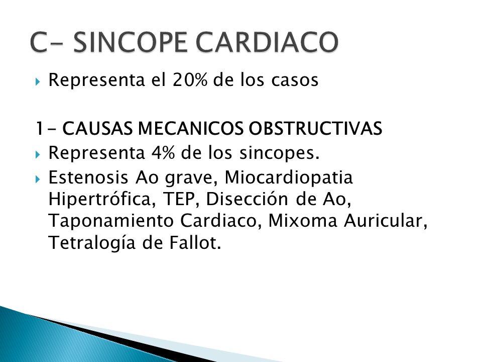 C- SINCOPE CARDIACO Representa el 20% de los casos