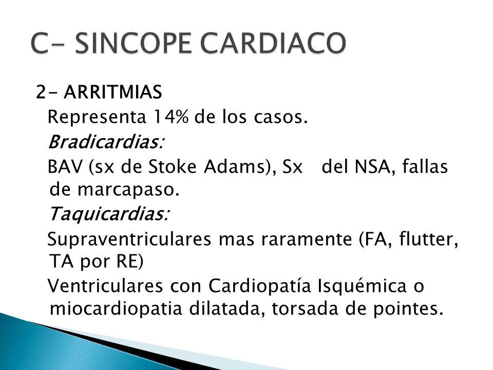 C- SINCOPE CARDIACO 2- ARRITMIAS Representa 14% de los casos.