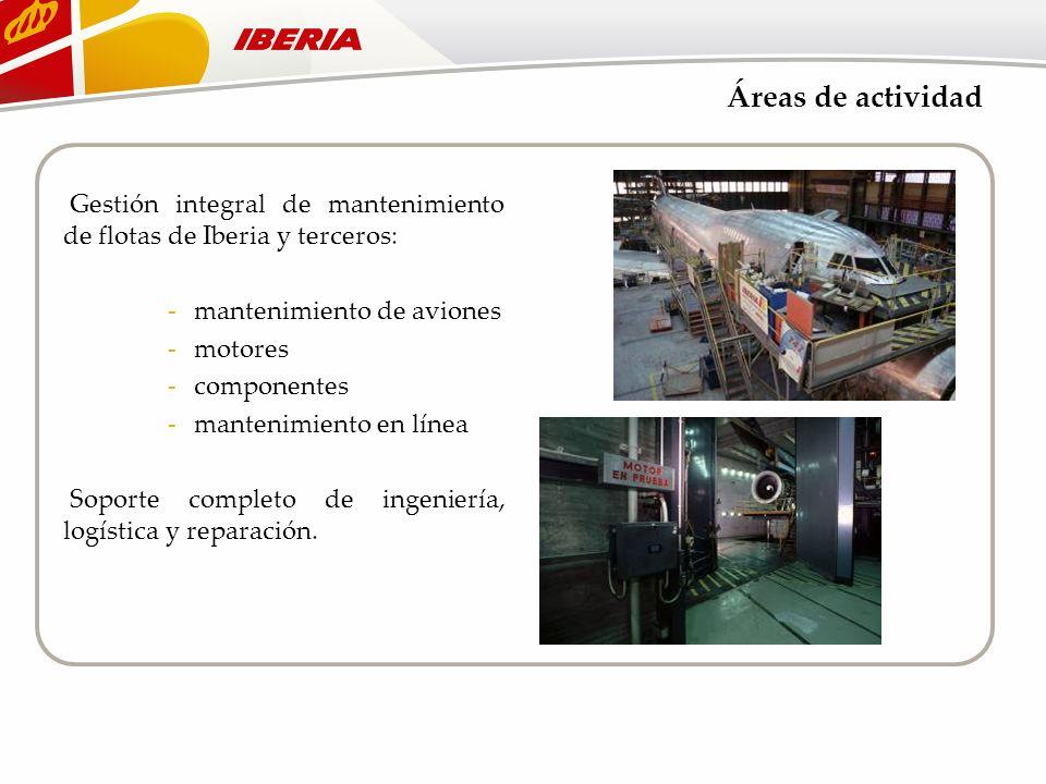 Áreas de actividad Gestión integral de mantenimiento de flotas de Iberia y terceros: mantenimiento de aviones.