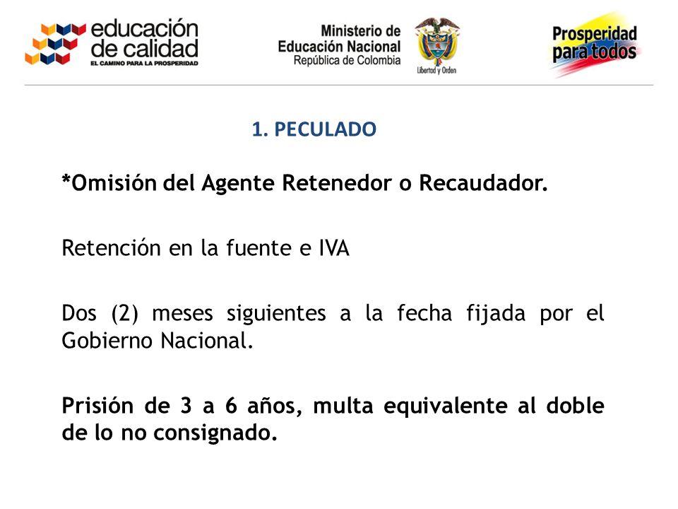 1. PECULADO *Omisión del Agente Retenedor o Recaudador. Retención en la fuente e IVA.