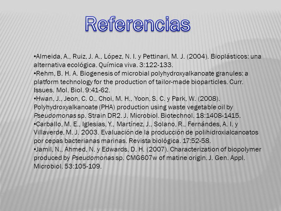 Referencias Almeida, A., Ruiz, J. A., López, N. I. y Pettinari, M. J. (2004). Bioplásticos: una alternativa ecológica. Química viva. 3:122-133.