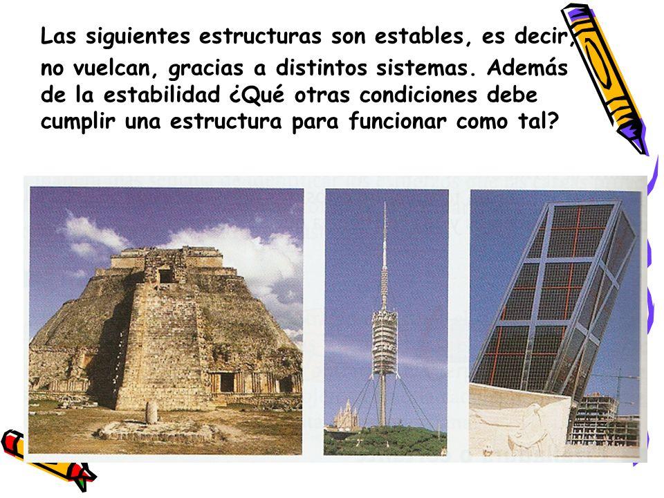 Las siguientes estructuras son estables, es decir,