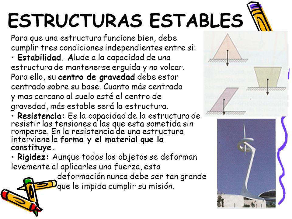 ESTRUCTURAS ESTABLES Para que una estructura funcione bien, debe