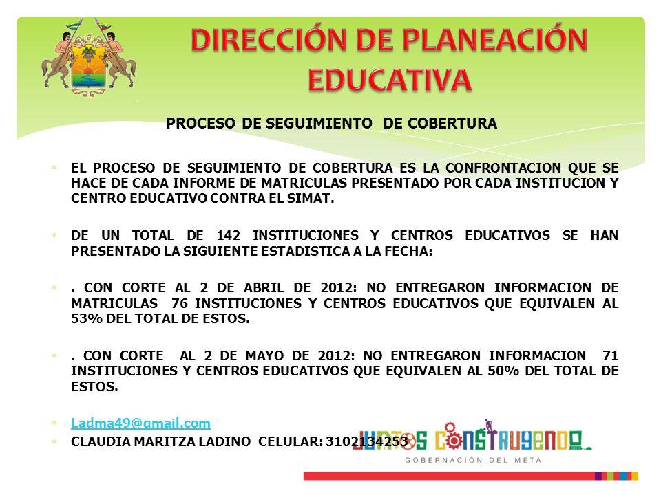 DIRECCIÓN DE PLANEACIÓN EDUCATIVA PROCESO DE SEGUIMIENTO DE COBERTURA
