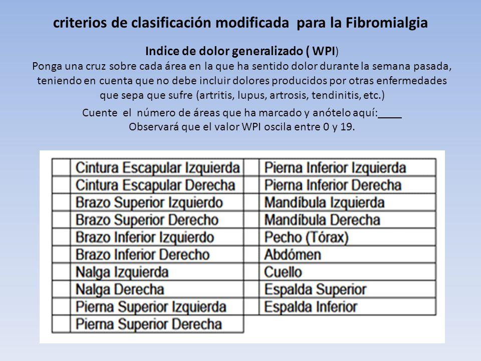 criterios de clasificación modificada para la Fibromialgia