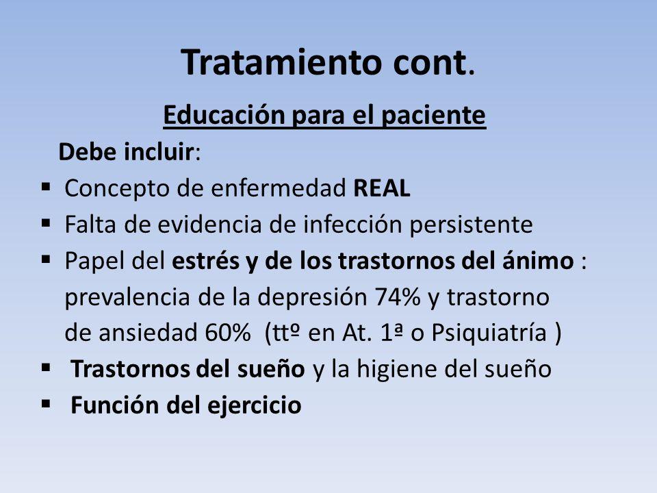 Tratamiento cont. Educación para el paciente Debe incluir: