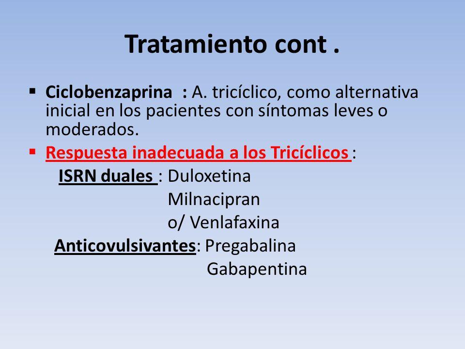 Tratamiento cont . Ciclobenzaprina : A. tricíclico, como alternativa inicial en los pacientes con síntomas leves o moderados.
