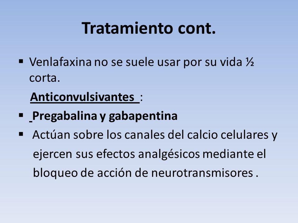 Tratamiento cont. Venlafaxina no se suele usar por su vida ½ corta.