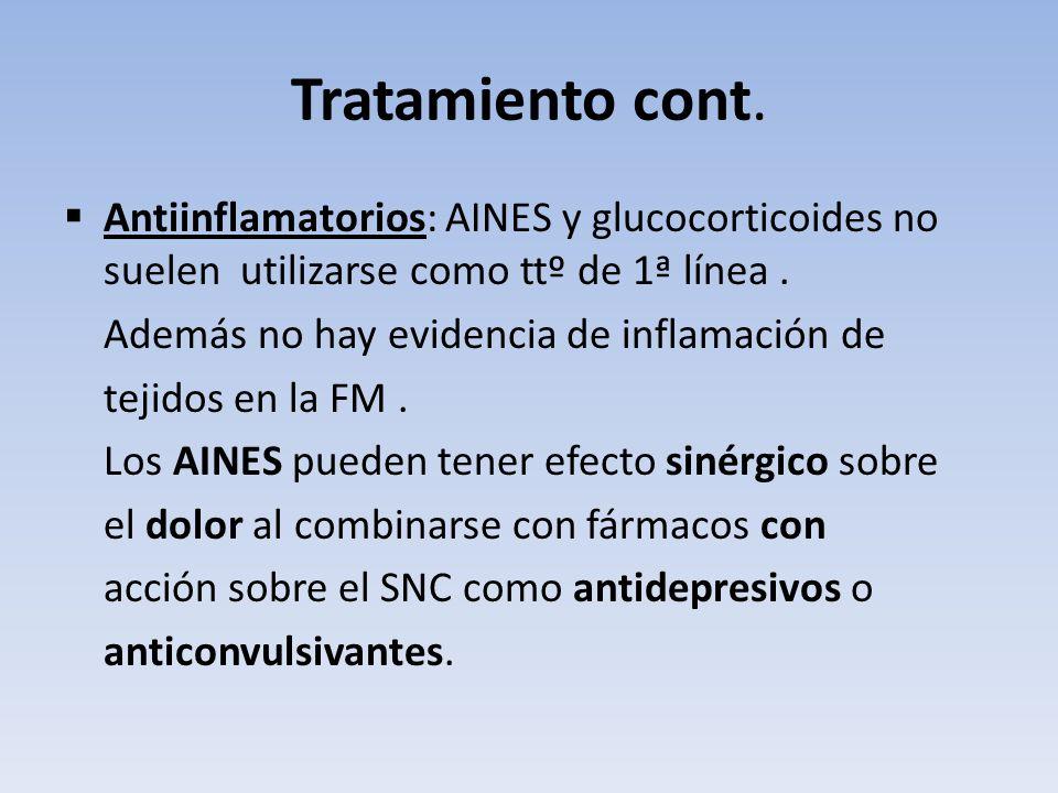 Tratamiento cont. Antiinflamatorios: AINES y glucocorticoides no suelen utilizarse como ttº de 1ª línea .