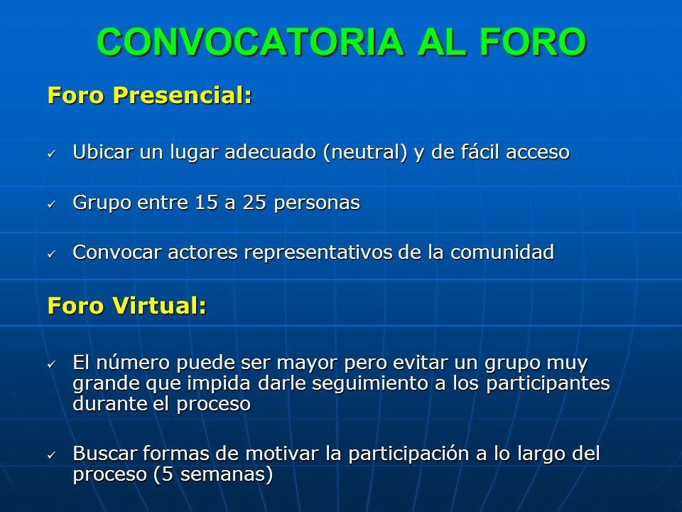CONVOCATORIA AL FORO Foro Presencial: Foro Virtual: