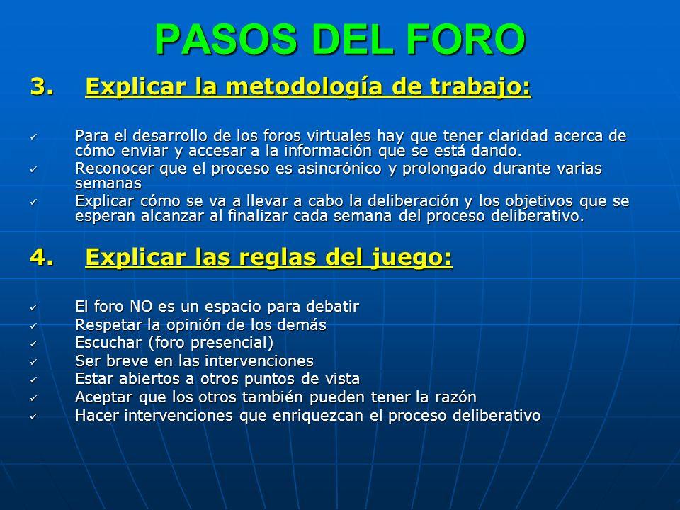 PASOS DEL FORO 3. Explicar la metodología de trabajo: