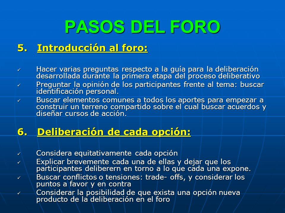 PASOS DEL FORO 5. Introducción al foro: