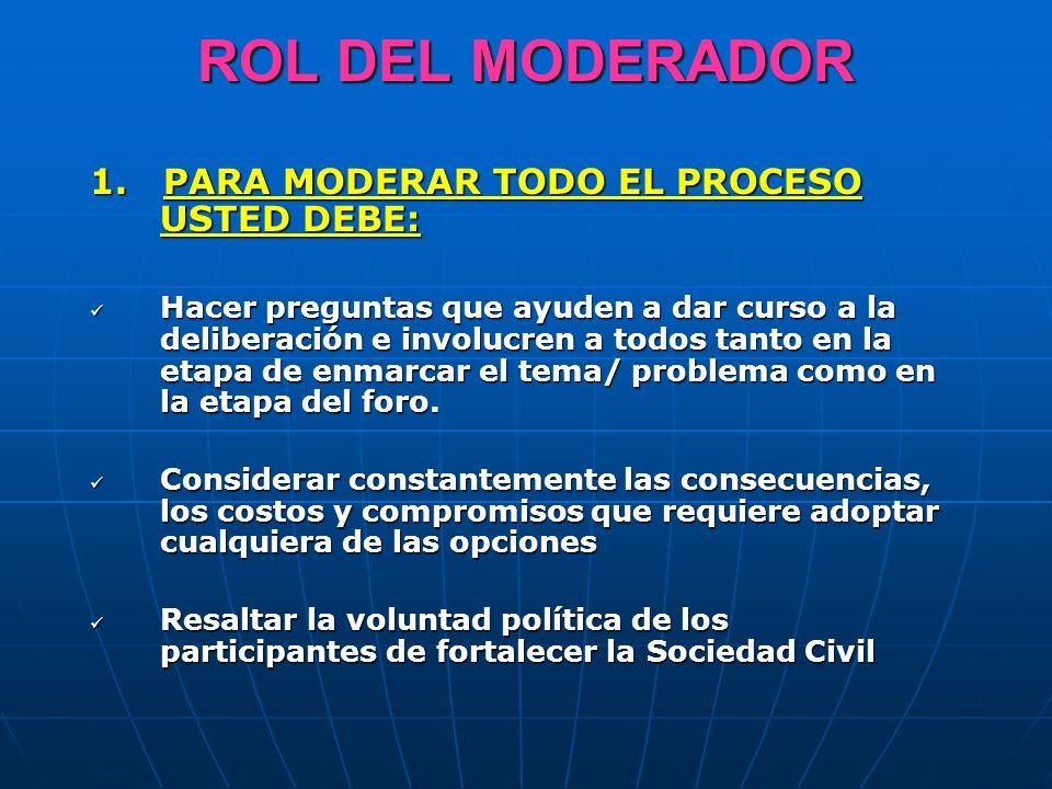 ROL DEL MODERADOR 1. PARA MODERAR TODO EL PROCESO USTED DEBE: