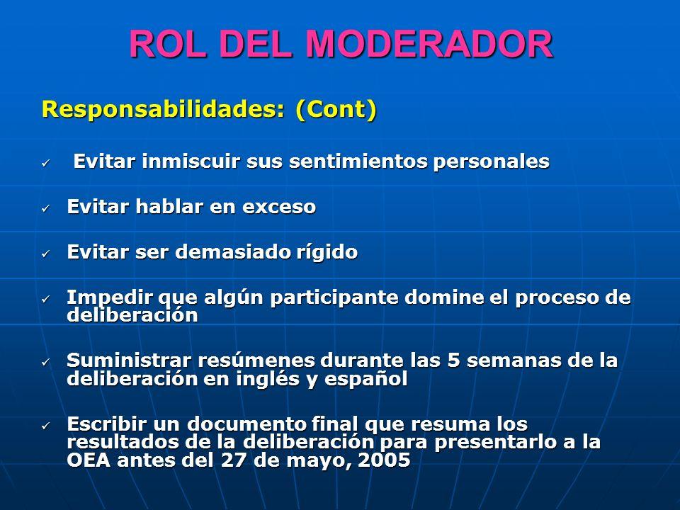ROL DEL MODERADOR Responsabilidades: (Cont)