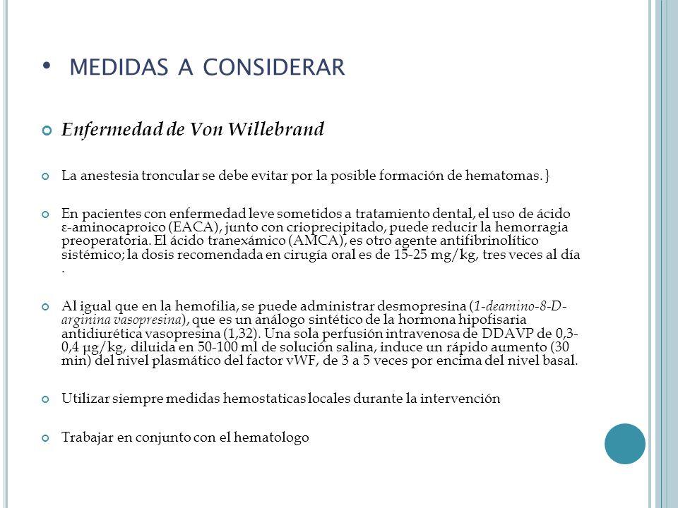 medidas a considerar Enfermedad de Von Willebrand